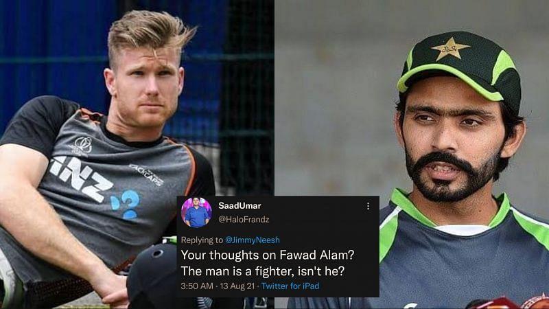 A Twitter user asked Jimmy Neesham (L) about his opinion on Pakistani batsman Fawad Alam