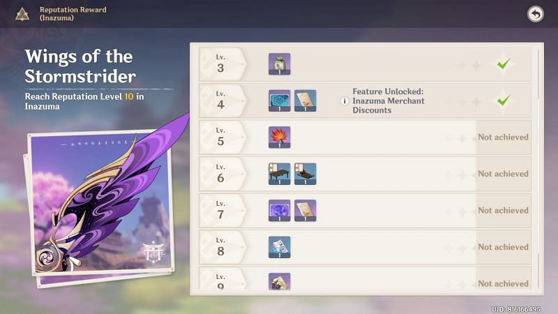 Inazuma Reputation level rewards (image via Genshin Impact)