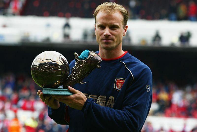 Dennis Bergkamp of Arsenal with the Premier League Goal of the Season award