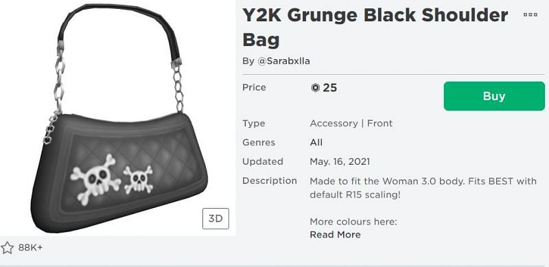 The Y2K Grunge Black Shoulder Bag in Roblox. (Image via Roblox Corporation)
