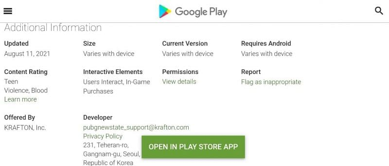 PUBG New State system requirements (Image via Google Play)