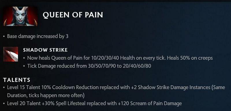 Queen of Pain changes in Dota 2 7.30 (image via Valve)
