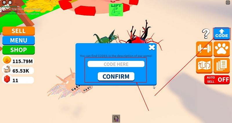 The code redemption window in Infinity Power Simulator. (Image via Roblox Corporation)