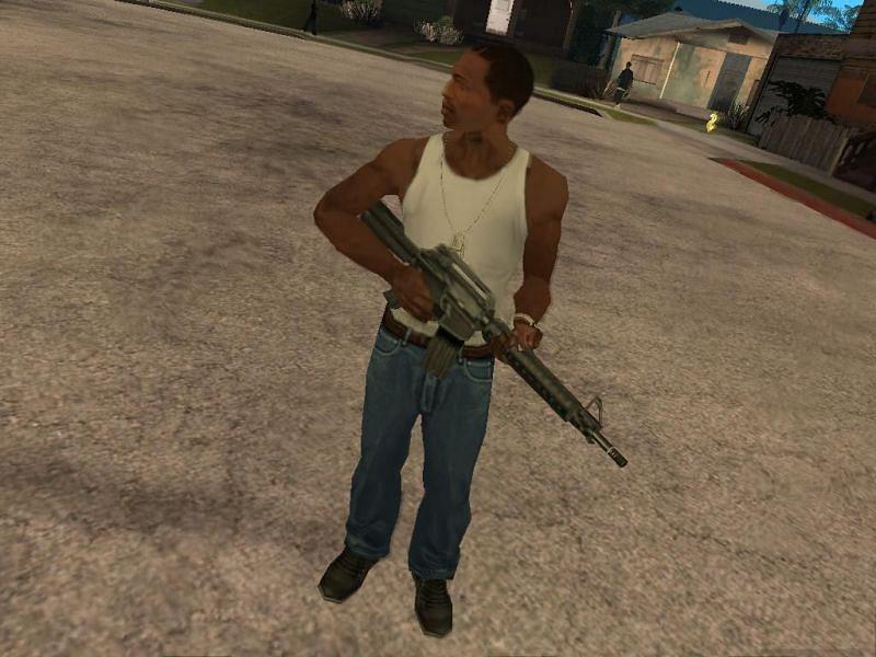 CJ knows how to rock a tank top (Image via Rockstar Games)