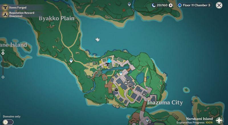 Ubicación de Kiminami Anna en el mapa (Imagen a través de Genshin Impact)