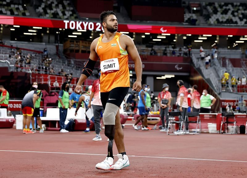 Sumit Antil looks on after one of his throws at the 2020 Tokyo Paralympics