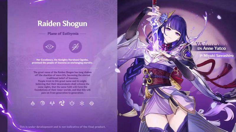 Raiden Shogun di Live Stream 2.1 (Gambar via Genshin Impact)