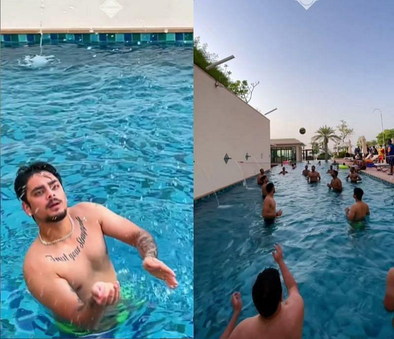 मुंबई इंडियंस के खिलाड़ियों ने पूल में वॉलीबॉल खेला