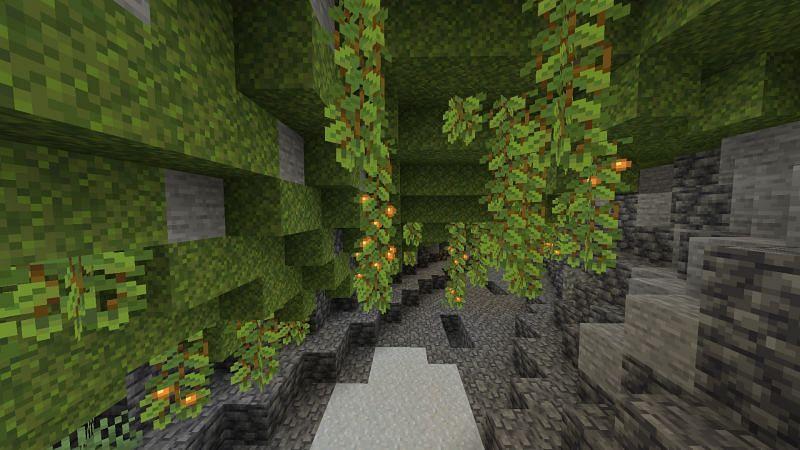 Lush caves (Image via Minecraft)