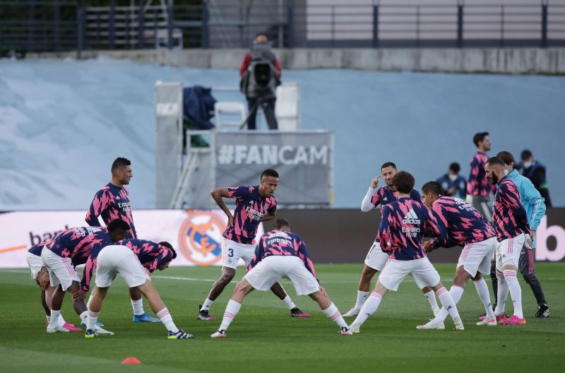 Real Madrid during a warm-up session