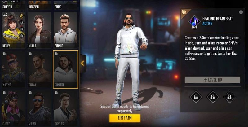 Dimitri character in the game (Image via Free Fire)