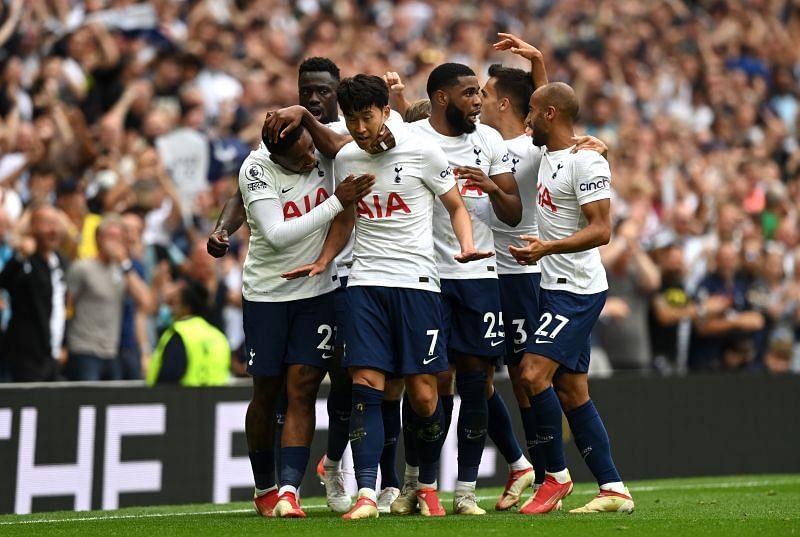 Tottenham Hotspur players celebrate their goal against Manchester City