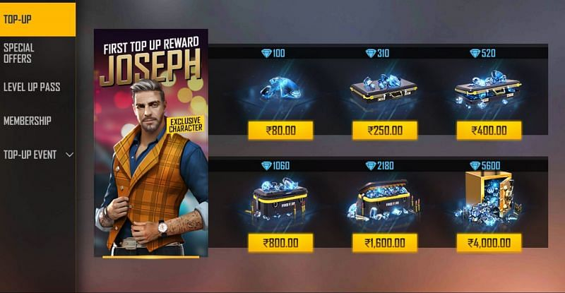 Regular top up prices are higher than diamonds