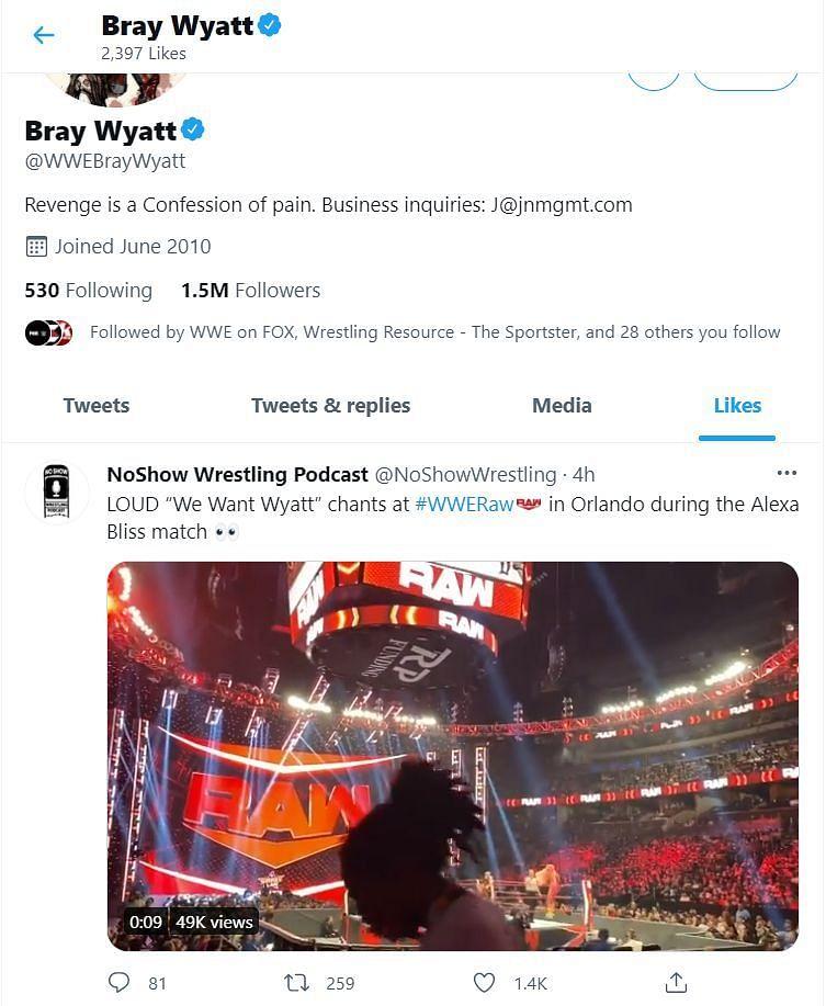 Screenshot of Bray Wyatt liking the tweet