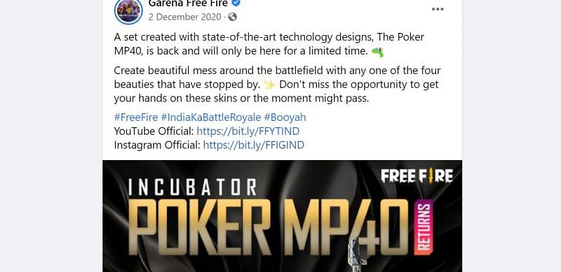 Inkubator kembali ke Free Fire pada Desember 2020 (Gambar via Facebook)