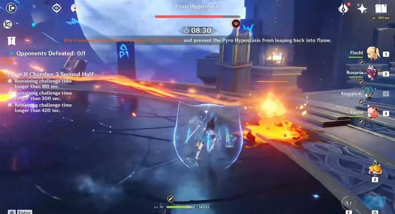 Xingqiu's Elemental Skill destroy the Fire Seed just by approaching it (Image via Abyss Breakdown, Youtube)
