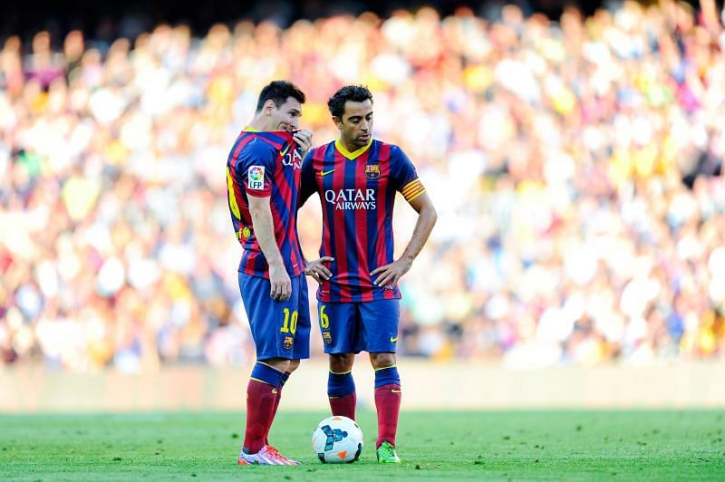 Xavi and Lionel Messi played together at Barcelona for many years
