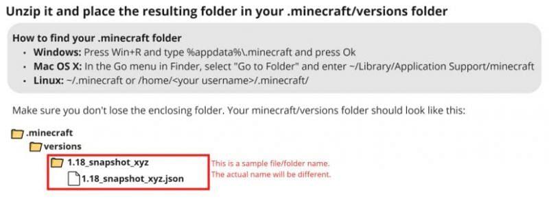 संस्करण फ़ोल्डर में फ़ाइल को अनज़िप करें (Mojang के माध्यम से छवि)