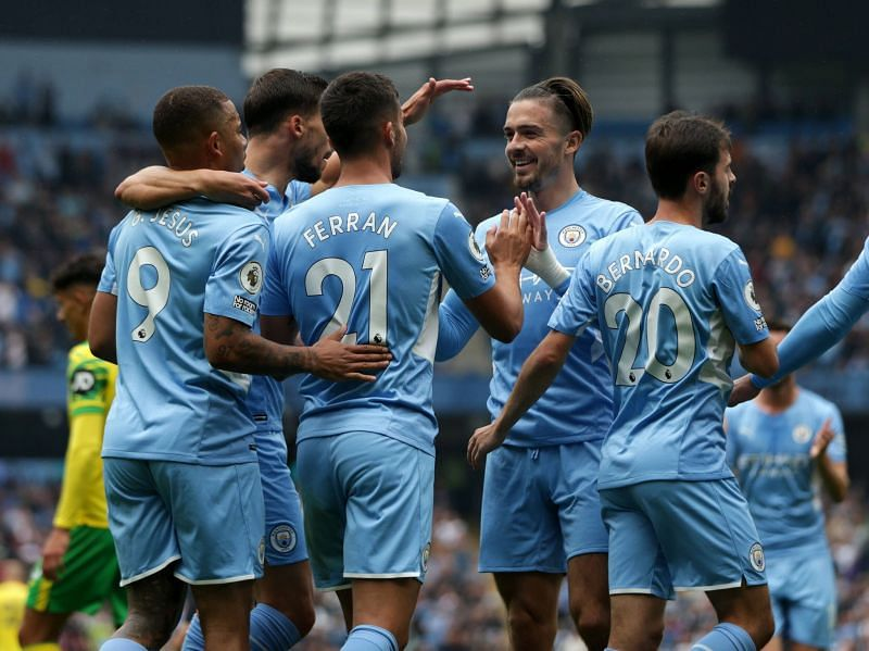 Manchester City routed Norwich City 5-0 at the Etihad Stadium
