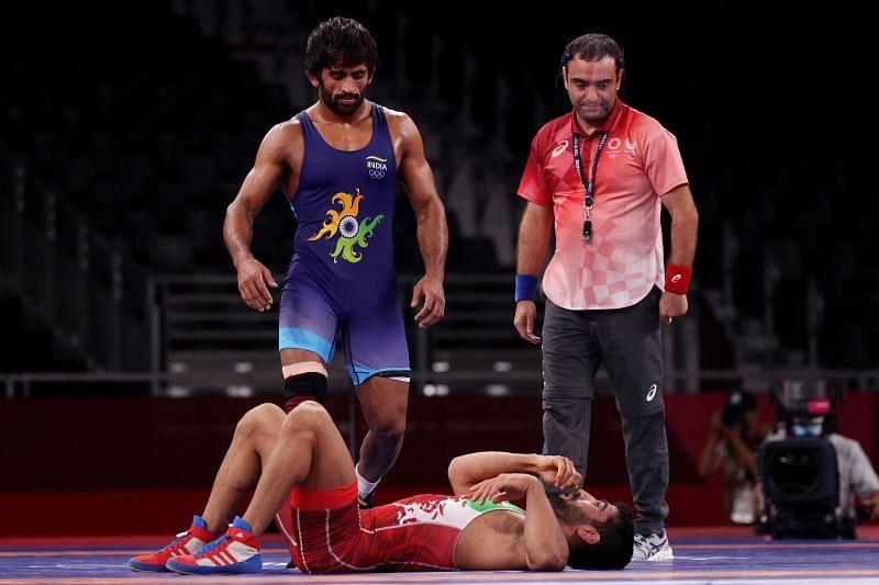 Bajrang Bajrang of Team India during the Men's Freestyle 65kg Quarter Final at Tokyo 2021 Olympic Games