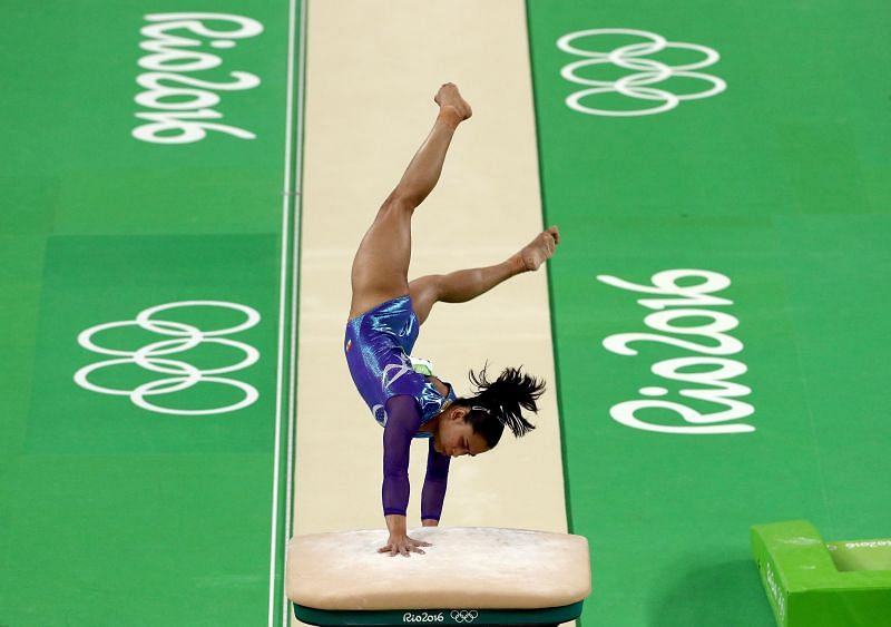Dipa Karmakar of India competes in the Women's Vault Final of the Rio 2016 Olympic Games at the Rio Olympic Arena