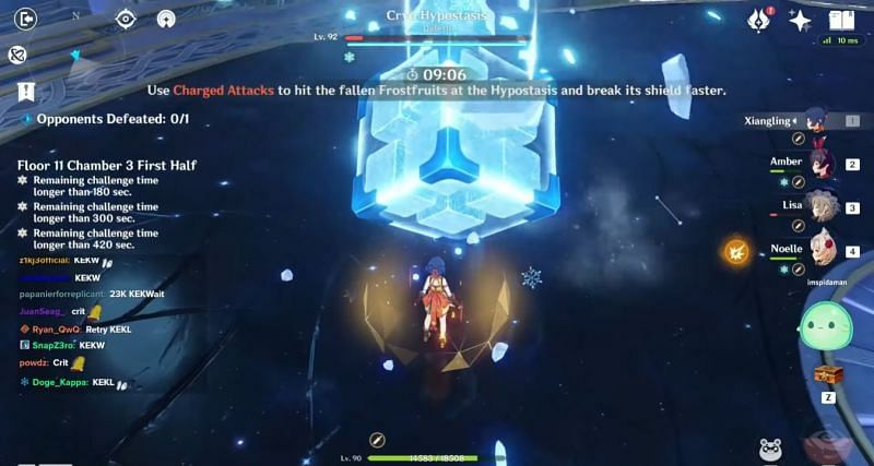 Active character standing right next to the Cryo Hypostasis during the final phase (Image via Enviosity, YouTube)