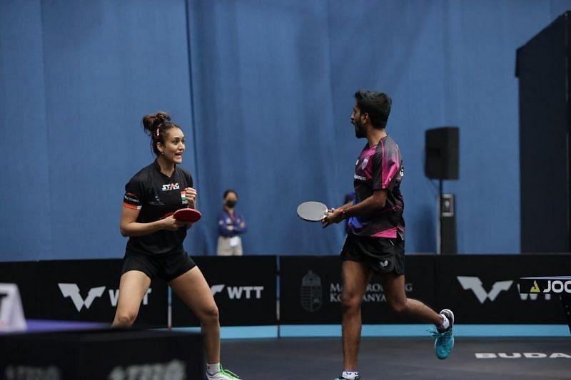 Sathiyan and Manika Batra exult after winning the final (PC: WTT)