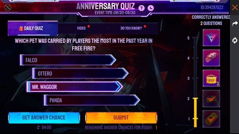 The new question for the quiz event (Image via Free Fire)