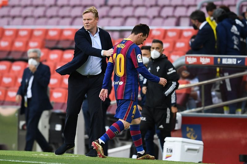 A dejected Lionel Messi leaving the pitch in his last match