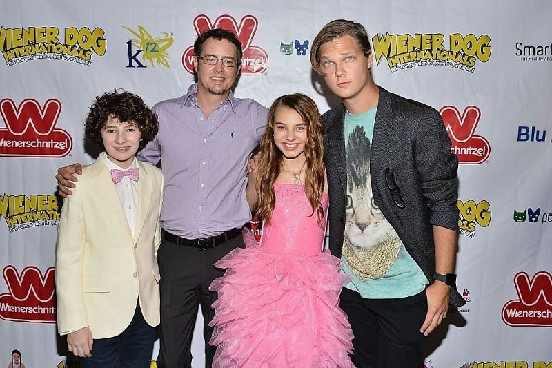 """Julian Fedder, Jason London, Caitlin Carmichael and Austin Anderson at the """"Wiener Dog Internationals"""" Los Angeles Premiere. (Image via Getty Images)"""