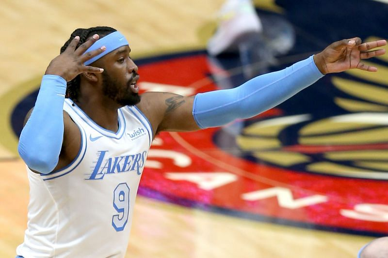 Wesley Matthews #9 of the Los Angeles Lakers reacts after scoring a three point basket during the first quarter of an NBA game against the New Orleans Pelicansat Smoothie King Center on March 23, 2021 in New Orleans, Louisiana.