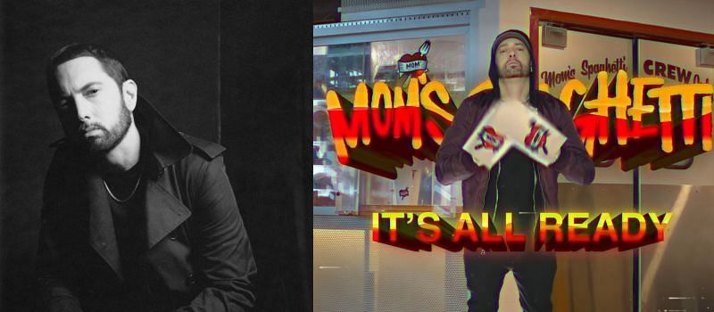 "Eminem in the promo for ""Mom's Spaghetti"" restaurant (image via Eminem/Facebook, and EminemMusic/ YouTube)"