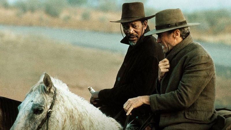 Morgan Freeman and Clint Eastwood in Unforgiven (Image via Amazon Prime)