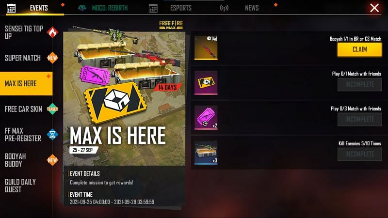 Max is Here (Image via Free Fire)