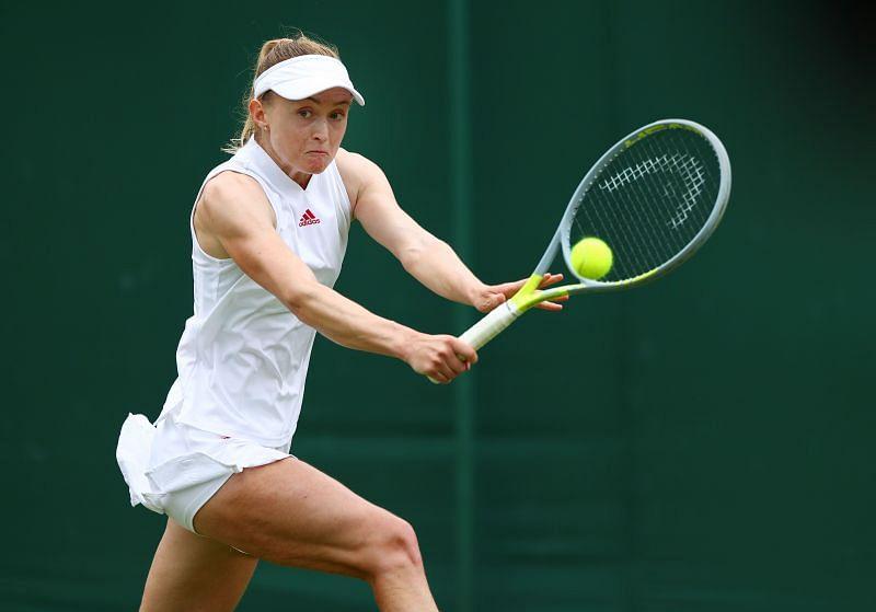 Aliaksandra Sasnovich in action at the 2021 Wimbledon Championships