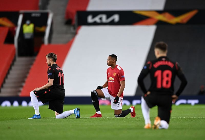 Anthony Martial (centre) wants to stay at Manchester United and fight for his place.