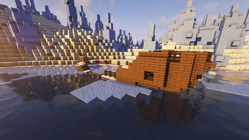 A shipwreck in the game (Image via Minecraft)