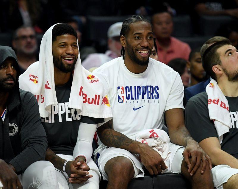 LA Clippers stars Kawhi Leonard and Paul George share a light moment