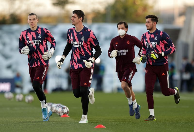Andriy Lunin, Thibaut Courtois and Diego Altube of Real Madrid