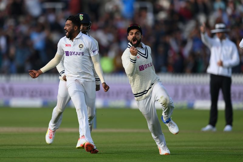 Mohammed Siraj and Virat Kohli celebrate a wicket during the Lord's Test. Pic: Getty Images
