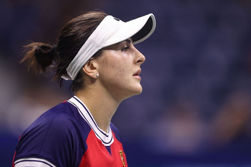 Bianca Andreescu during her first-round match at the 2021 US Open