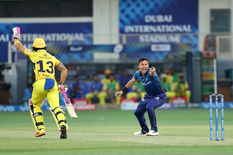 Trent Boult sent Faf du Plessis back to the pavilion in the first over of the match (Image Courtesy: IPLT20.com)