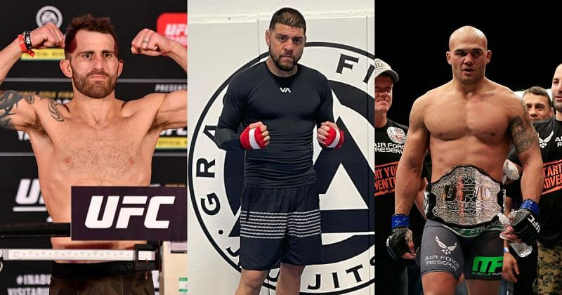 Alexander Volkanovski (left) predicts the outcome of the Nick Diaz (center; Photo Credit: @nickdiaz209 on Instagram) vs Robbie Lawler (right) 2 fight this month