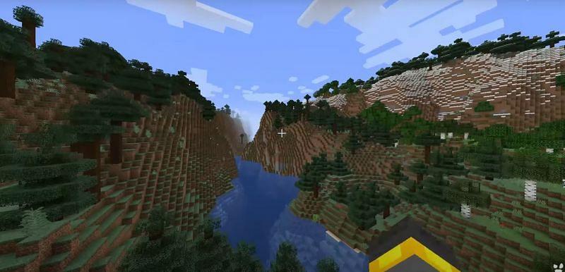 Beautiful peaks in Minecraft (Image via wattles on YouTube)