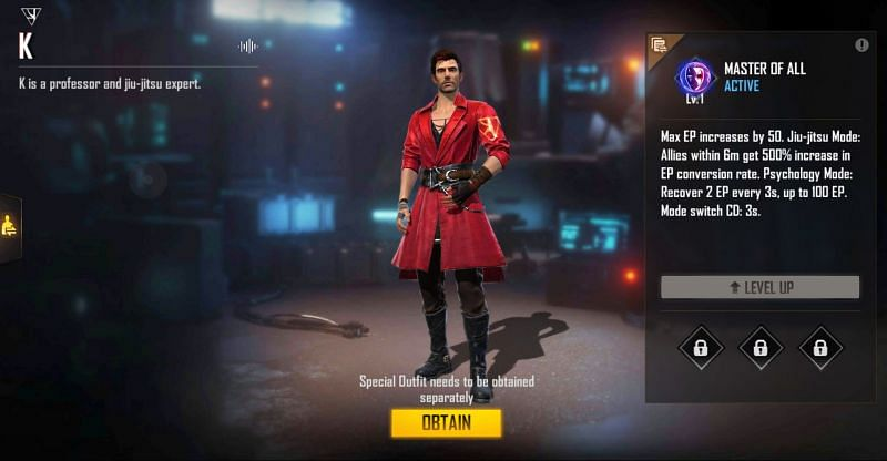 K's abiltiy has two separate modes (Image via Free Fire)