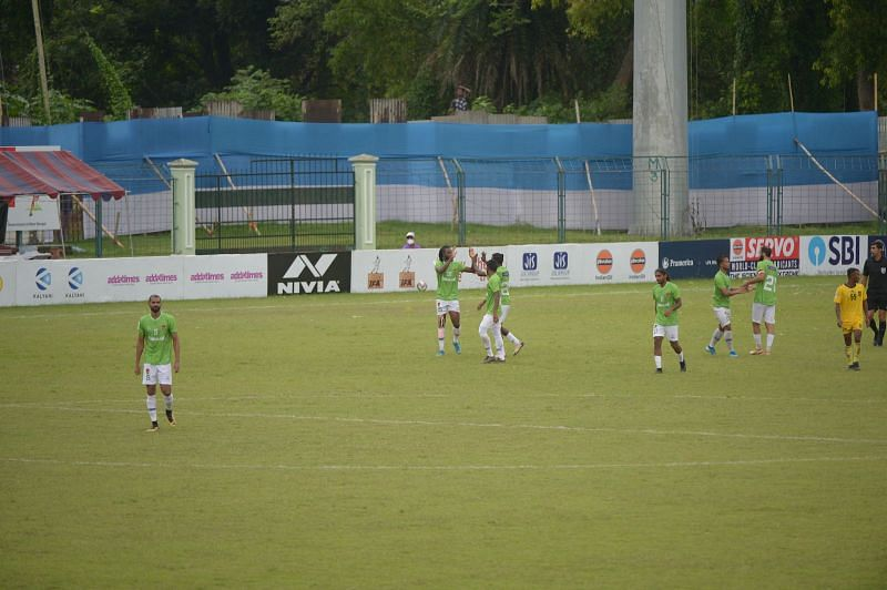 Gokulam Kerala FC celebrate after taking the lead in the second-half.