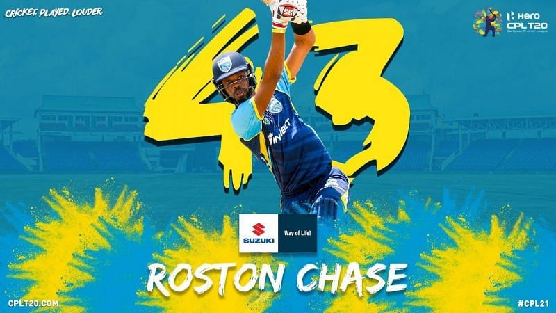 Top runscorer of CPL 2021 - Roston Chase. (Pic: @CPL Twitter)