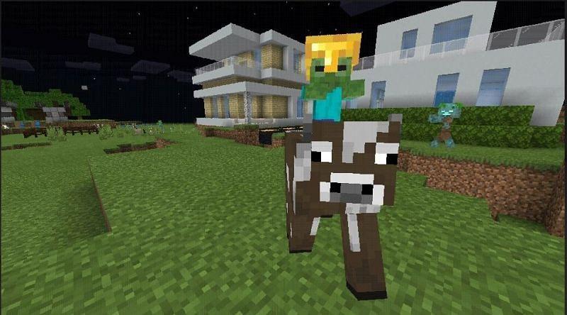 Baby zombie on cow (Image via Mojang)