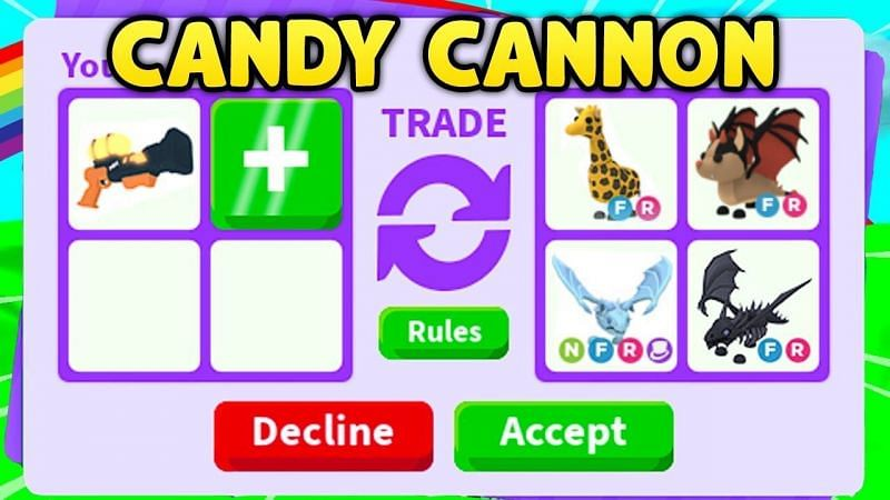A trade for the candy cannon in Adopt Me! (Image via Roblox Corporation)