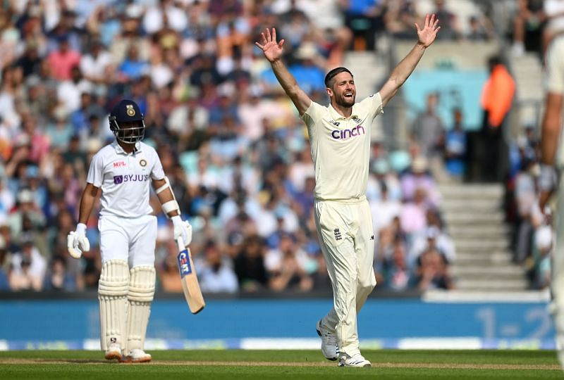 Chris Woakes successfully appeals for the wicket of Ajinkya Rahane. Pic: Getty Images